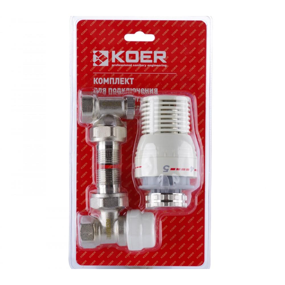 Комплект для подключения радиатора (угловой) с термоголовкой Koer